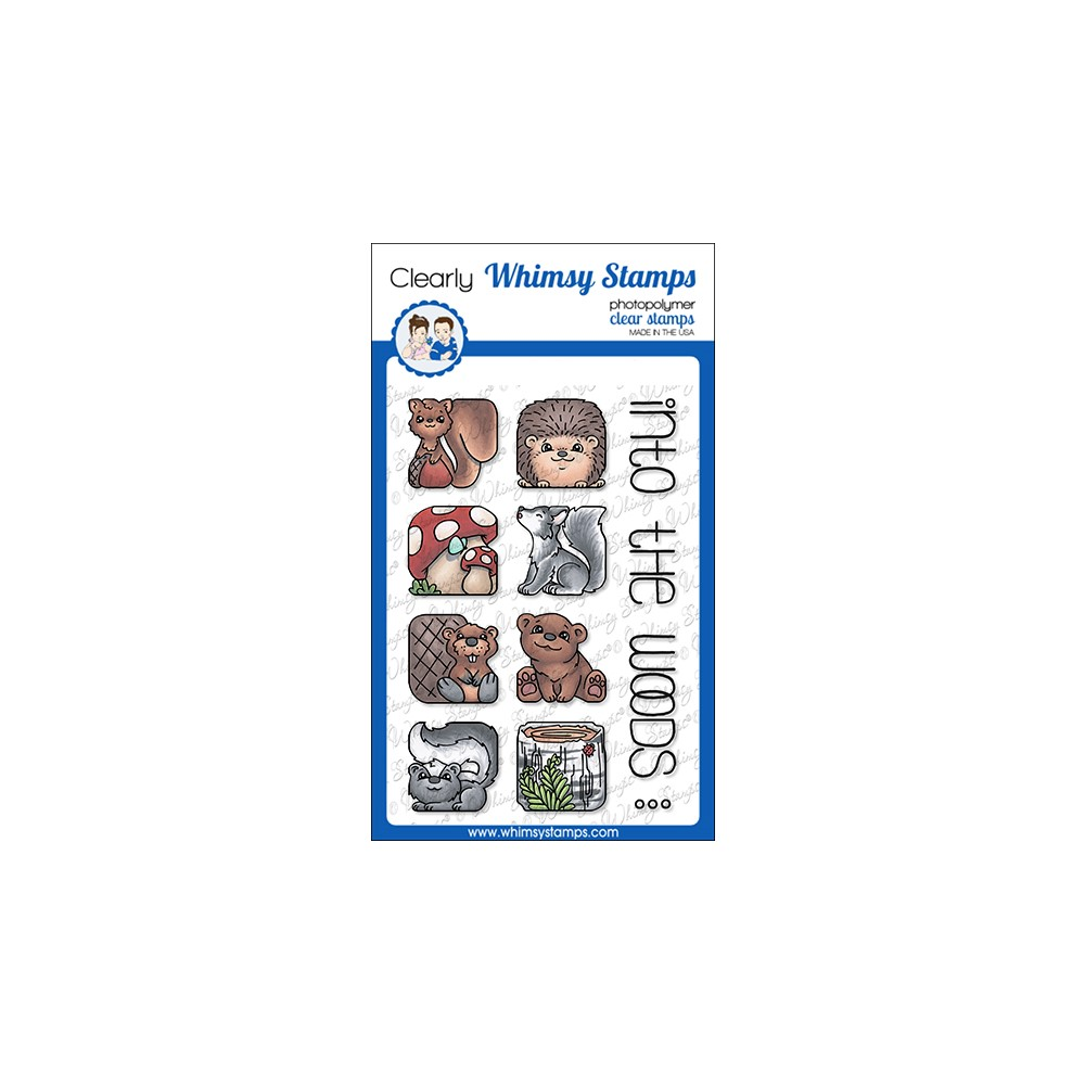 Whimsy Stamps ANIMAL TILES INTO THE WOODS Clear Stamps BS1033 zoom image
