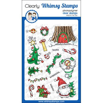 Whimsy Stamps GNOME WARM WISHES Clear Stamps C1377