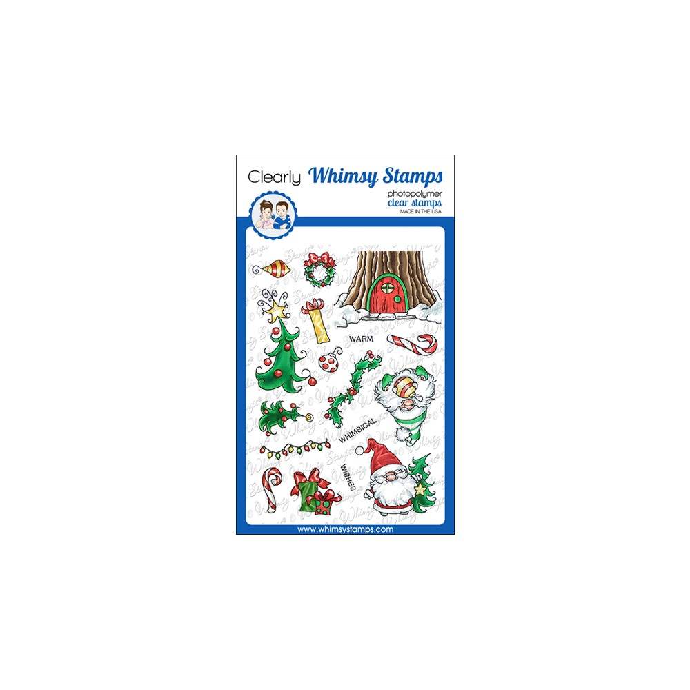 Whimsy Stamps GNOME WARM WISHES Clear Stamps C1377 zoom image