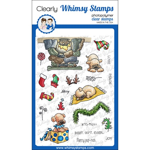 Whimsy Stamps PUPS FOR CHRISTMAS Clear Stamps C1378 Preview Image