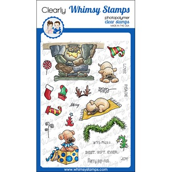 Whimsy Stamps PUPS FOR CHRISTMAS Clear Stamps C1378