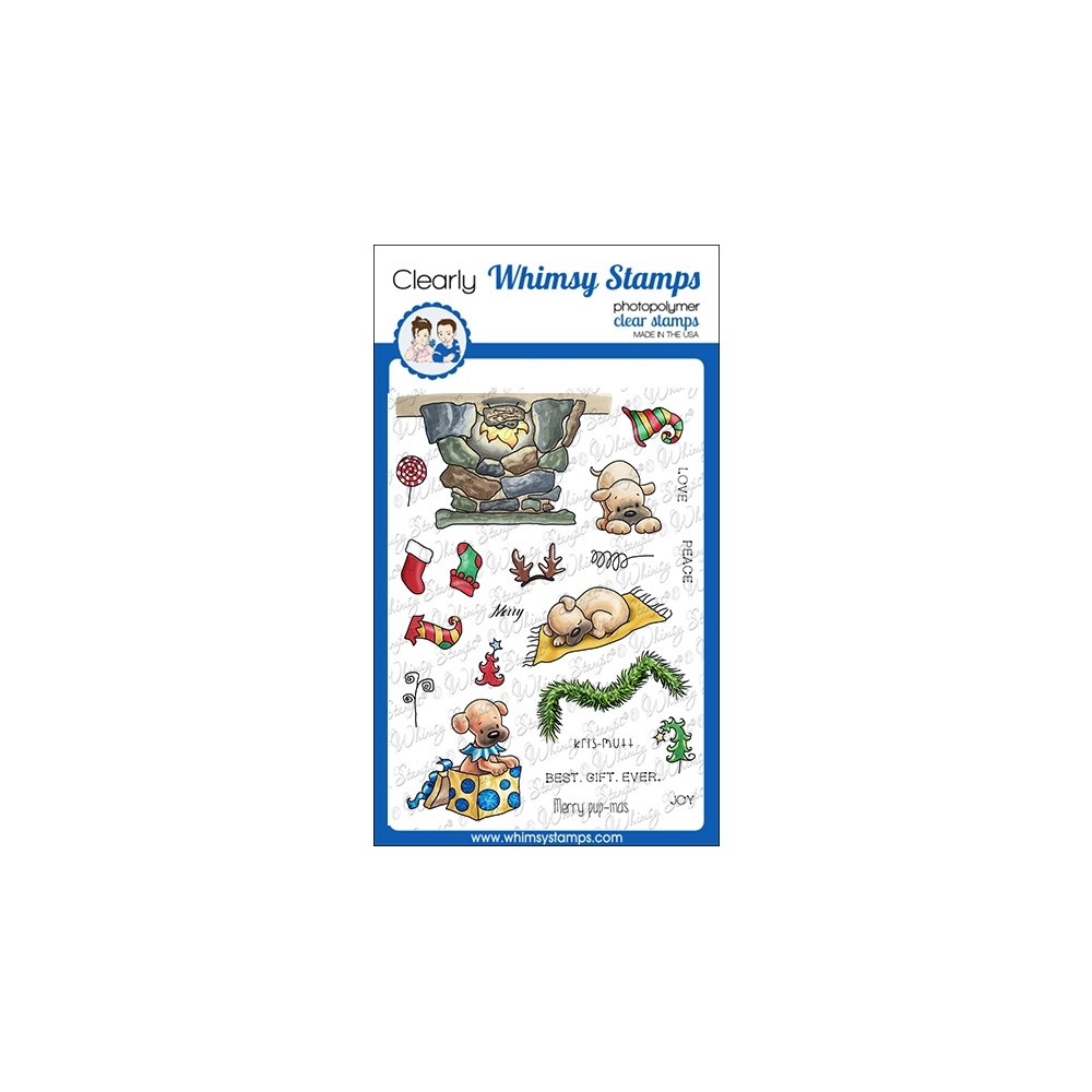 Whimsy Stamps PUPS FOR CHRISTMAS Clear Stamps C1378 zoom image
