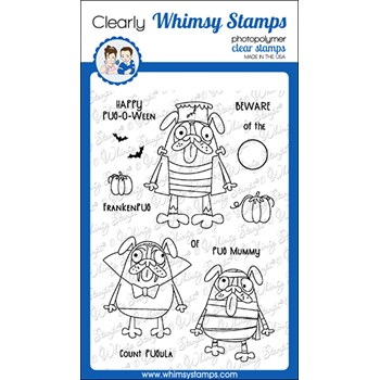 Whimsy Stamps HAPPY PUGOWEEN Clear Stamps CWSD299a