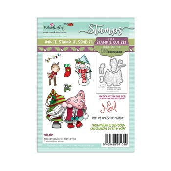 Polkadoodles GNOME MEET ME UNDER THE MISTLETOE Matchables Clear Stamps pd8189