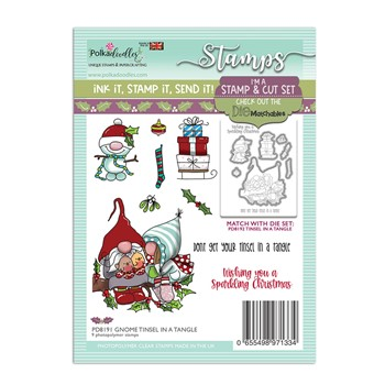 Polkadoodles GNOME TINSEL IN A TANGLE Matchables Clear Stamps pd8191