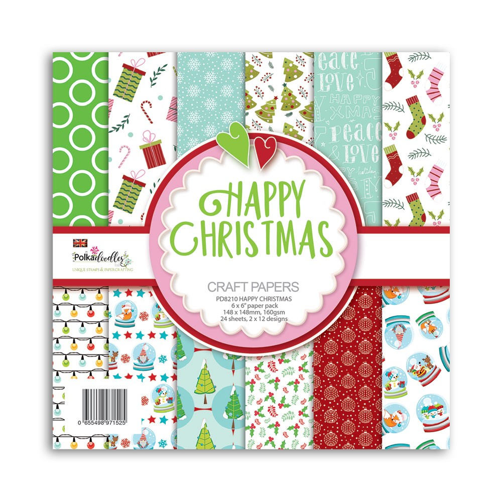 Polkadoodles HAPPY CHRISTMAS 6x6 Paper Pack pd8210 zoom image