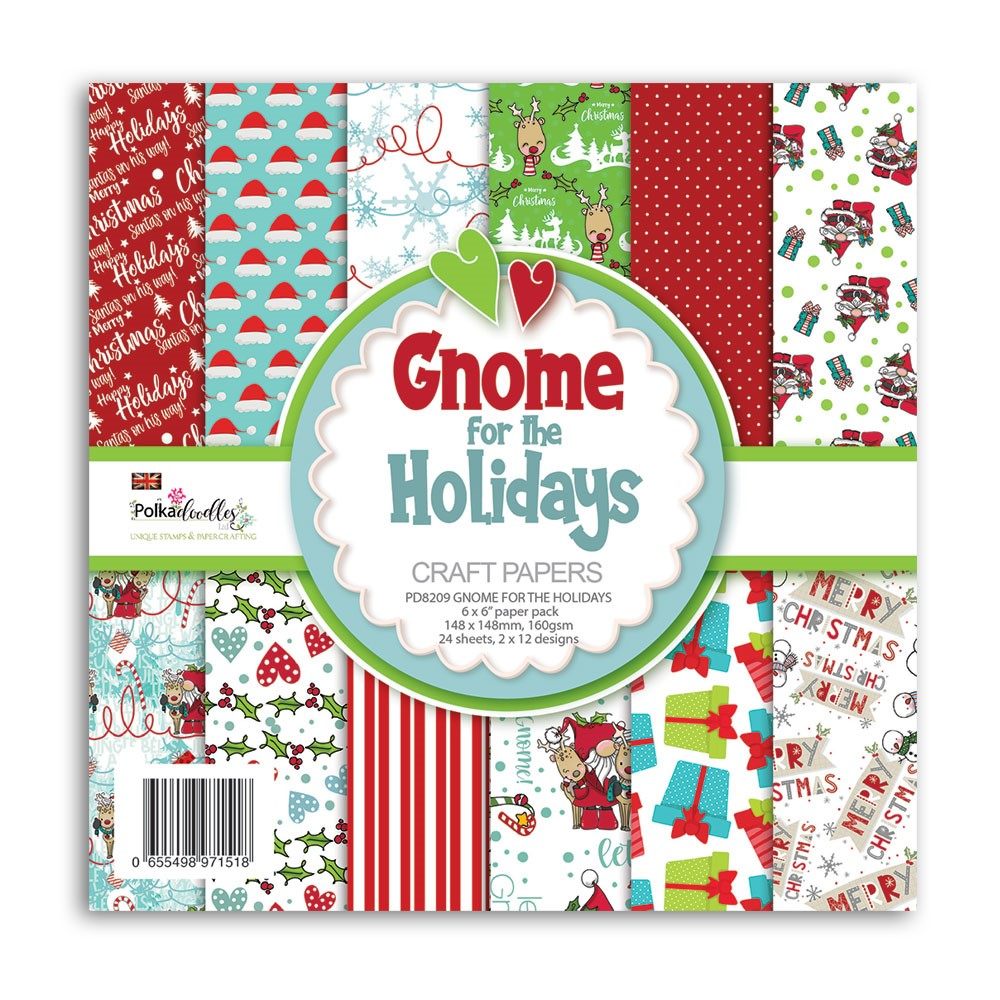 Polkadoodles GNOME FOR THE HOLIDAYS 6x6 Paper Pack pd8209 zoom image