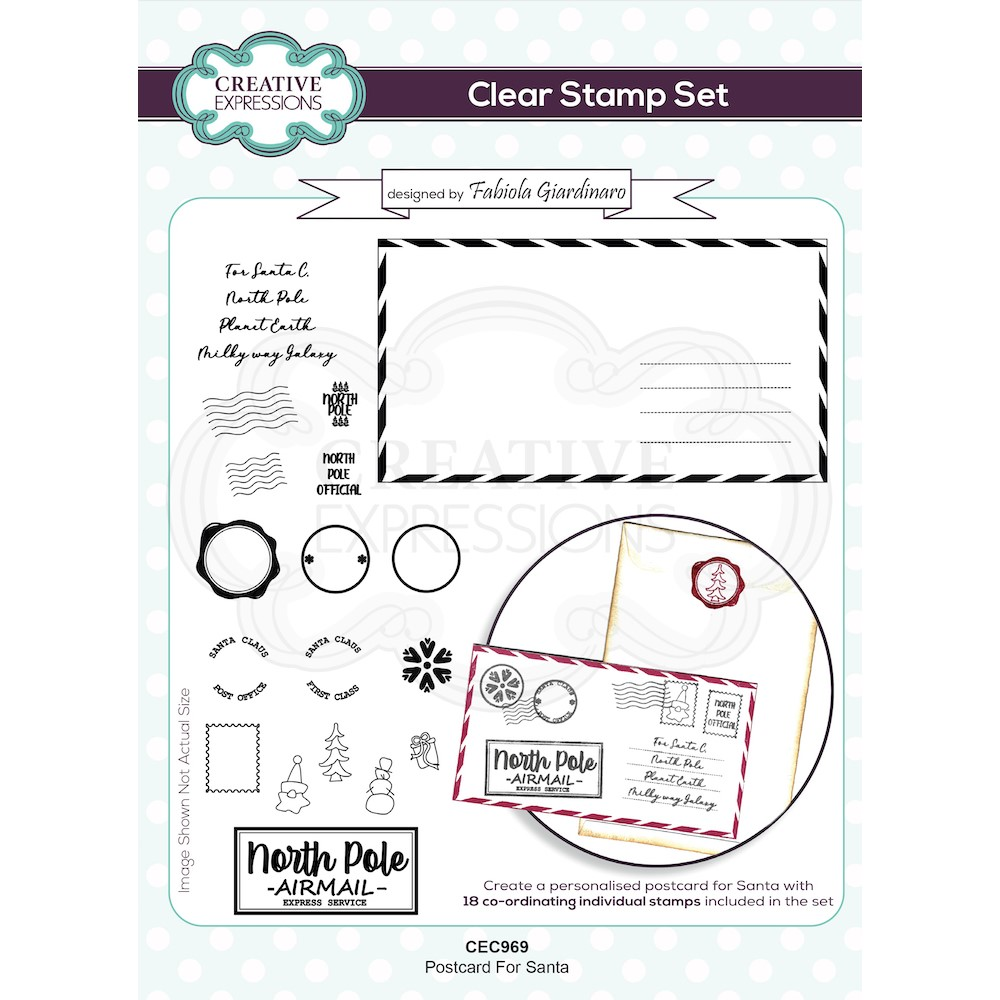 Creative Expressions POSTCARD FOR SANTA Clear Stamps cec969 zoom image