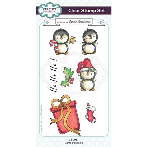 Creative Expressions SANTA PENGUINS Clear Stamps cec967 Preview Image