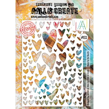 AALL & Create HUNG UP ON HEARTS A4 Stencil aal10133