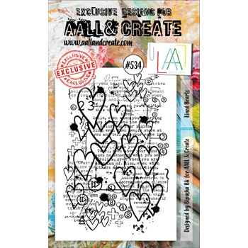 AALL & Create LINED HEARTS A6 Clear Stamps aall534