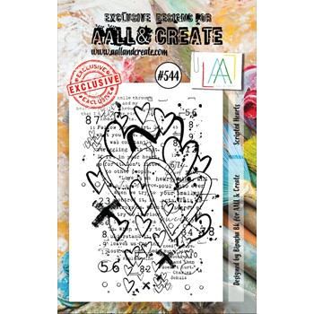 AALL & Create SCRIPTED HEARTS A7 Clear Stamp aall544