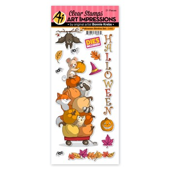 Art Impressions HALLOWEEN SLIMLINE Clear Stamps and Dies 5460