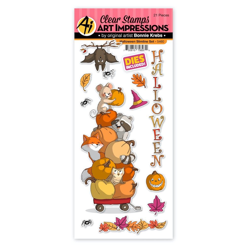 Art Impressions HALLOWEEN SLIMLINE Clear Stamps and Dies 5460 zoom image
