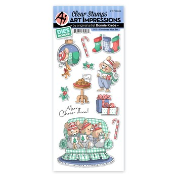Art Impressions CHRISTMAS MICE Clear Stamps and Dies 5459