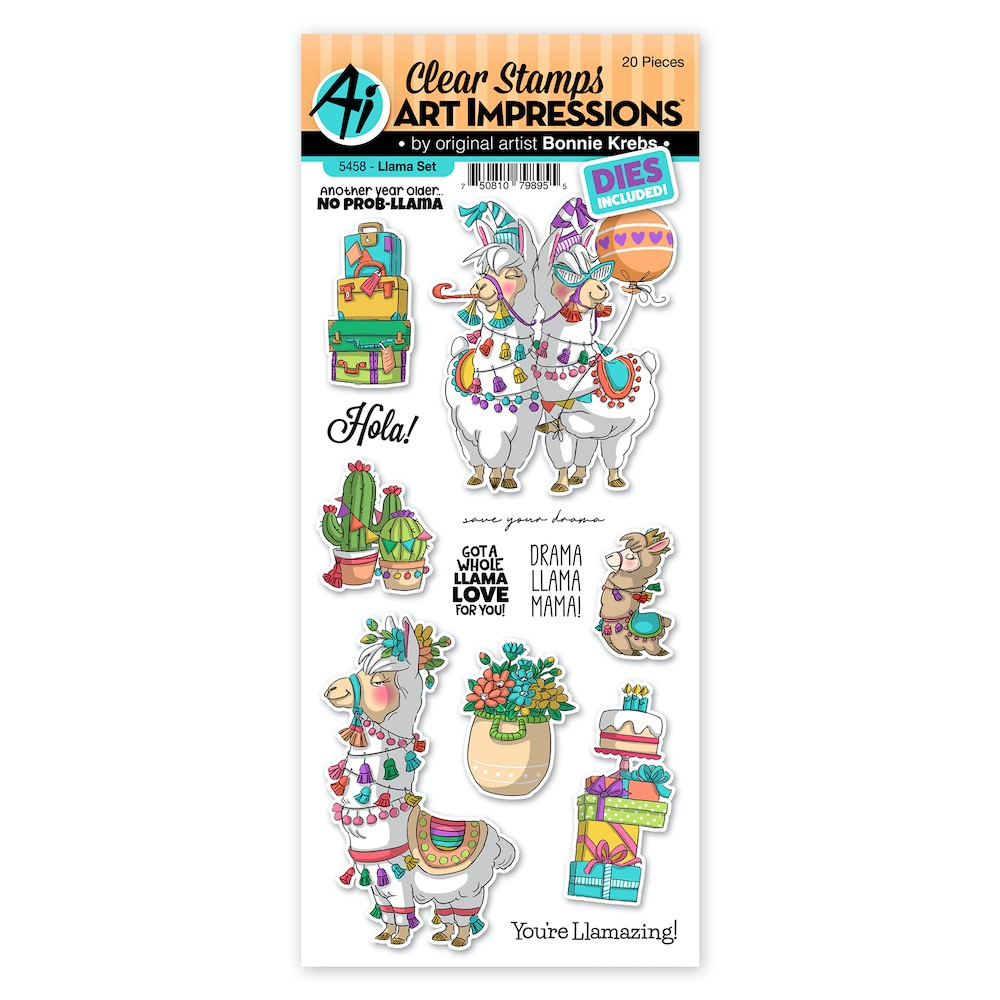 Art Impressions LLAMA Clear Stamps and Dies 5458 zoom image
