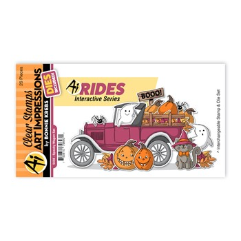 Art Impressions SPOOKY WAGON RIDES Clear Stamps and Dies 5456