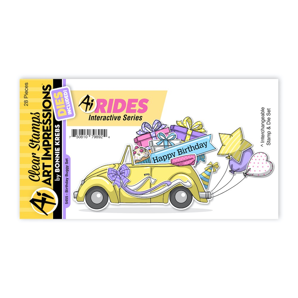 Art Impressions BIRTHDAY BUGGY RIDES Clear Stamps and Dies 5455 zoom image