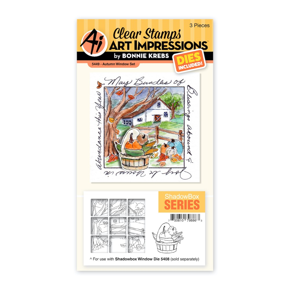 Art Impressions AUTUMN WINDOW Clear Stamp and Die Set 5449 zoom image
