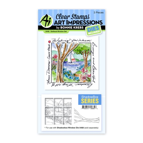 Art Impressions SAILBOAT WINDOW Clear Stamp and Die Set 5448 Preview Image