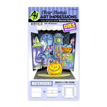 Art Impressions Matchbook HALLOWEEN Clear Stamps and Dies 5446