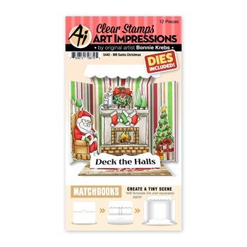 Art Impressions Matchbook SANTA CHRISTMAS Clear Stamps and Dies 5442