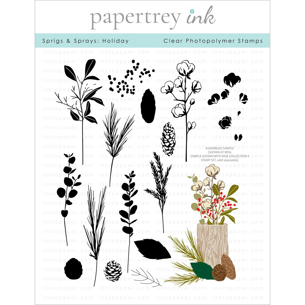 Papertrey Ink SPRIGS AND SPRAYS HOLIDAY Clear Stamps 1328 zoom image