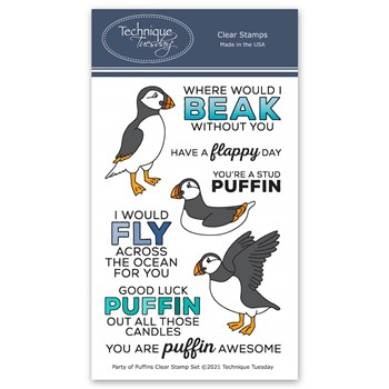 Technique Tuesday PARTY OF PUFFINS Clear Stamp Set papuf