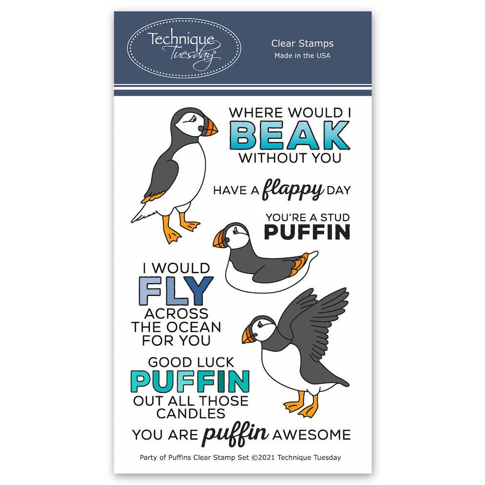 Technique Tuesday PARTY OF PUFFINS Clear Stamp Set papuf zoom image