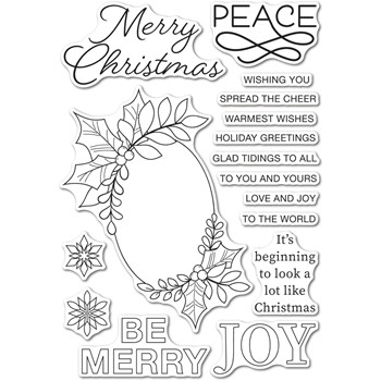Memory Box Clear Stamps FESTIVE CHRISTMAS GREETINGS cl5273