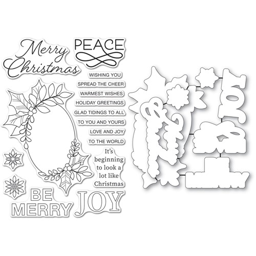 Memory Box FESTIVE CHRISTMAS GREETINGS Clear Stamp and Die Set cl5273d Preview Image