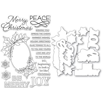 Memory Box FESTIVE CHRISTMAS GREETINGS Clear Stamp and Die Set cl5273d