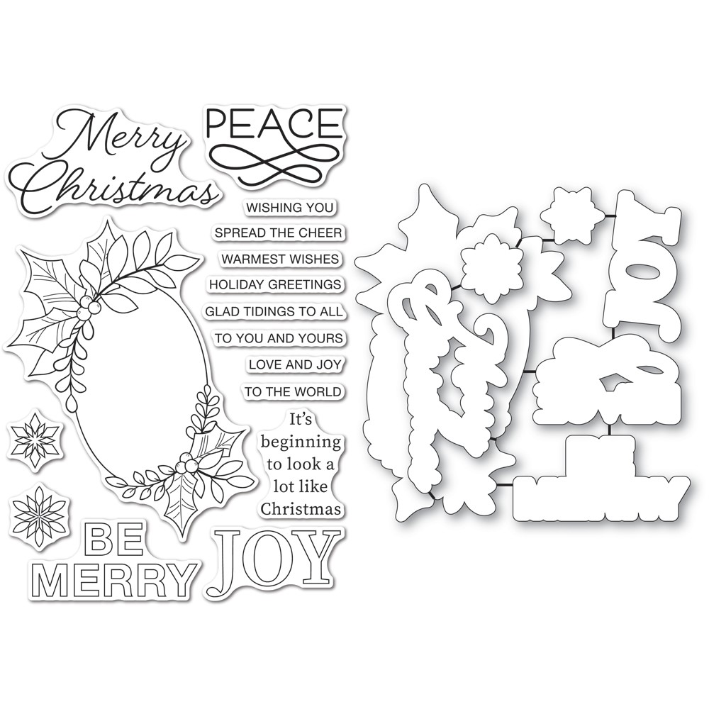 Memory Box FESTIVE CHRISTMAS GREETINGS Clear Stamp and Die Set cl5273d zoom image