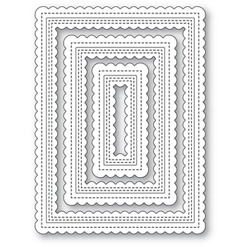 Poppy Stamps DOUBLE SCALLOPED STITCHED FRAMES Die 2474