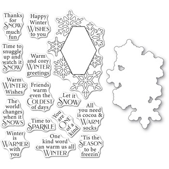 Poppy Stamps WINTERTIME SENTIMENTS Clear Stamp And Die Set cb508