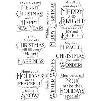 Poppy Stamps Clear Stamps PEACEFUL CHRISTMAS GREETINGS cl506