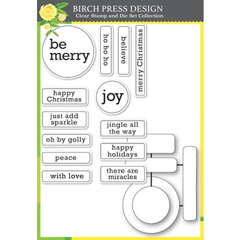 Birch Press Design CONTEMPO CHRISTMAS GREETINGS Clear Stamp and Die Set 8162