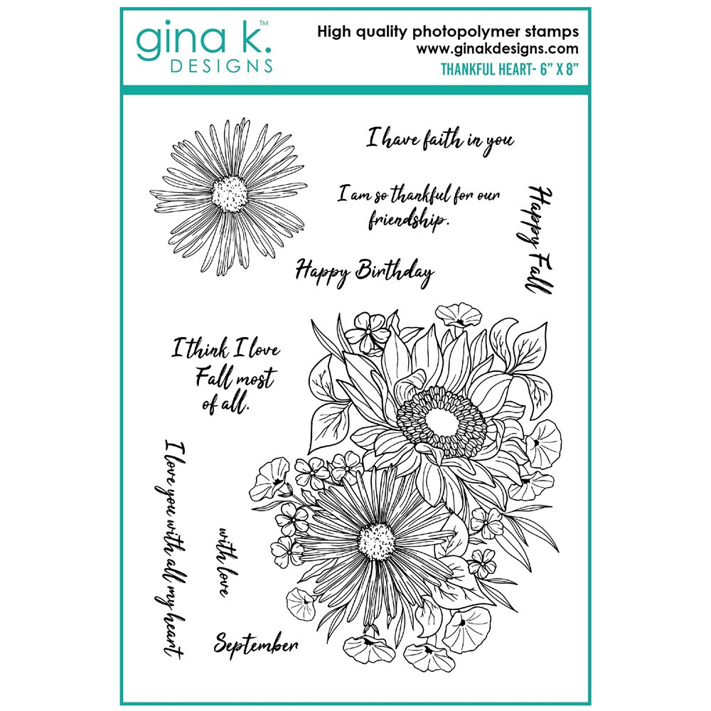 Gina K Designs THANKFUL HEART Clear Stamps hs28 zoom image