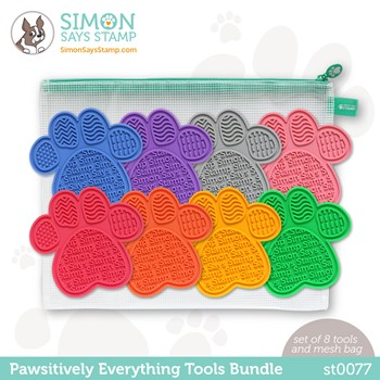 Simon Says Stamp PET PAWSITIVELY EVERYTHING RAINBOW TOOLS BUNDLE with Storage st0077