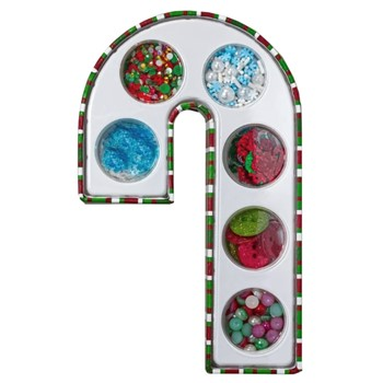 Buttons Galore and More CANDY CANE GIFT BOX ASSORTED EMBELLISHMENTS