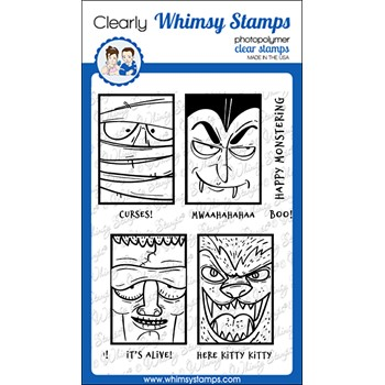 Whimsy Stamps MONSTER CLOSE UPS Clear Stamps CWSD396
