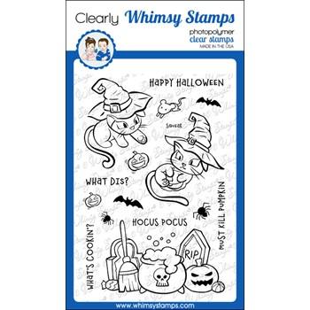 Whimsy Stamps HOCUS POCUS KITTENS Clear Stamps CWSD390