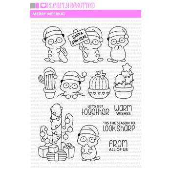 Clearly Besotted MERRY MEERKAT Clear Stamps