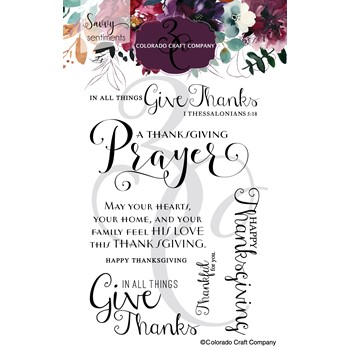 Colorado Craft Company Savvy Sentiments THANKSGIVING PRAYER Clear Stamps SS571