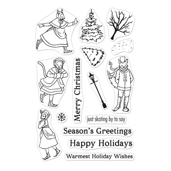 Hero Arts Clear Stamps VICTORIAN ICE SKATERS CM578