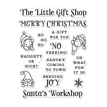 Hero Arts Clear Stamps GREETINGS CHRISTMAS SHOP CM580