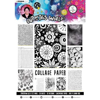 Studio Light OUT OF THIS WORLD BLACK AND WHITE ABM Collage Paper 15 abmootwpp15