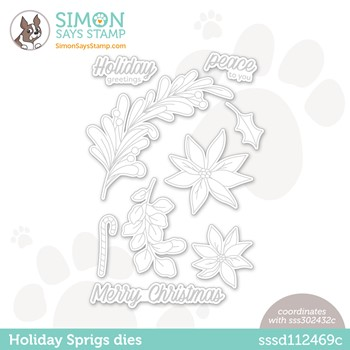 Simon Says Stamp HOLIDAY SPRIGS Wafer Dies sssd112469c Peace On Earth
