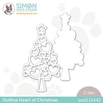 Simon Says Stamp OUTLINE HEART OF CHRISTMAS Wafer Dies sssd112442 Peace On Earth
