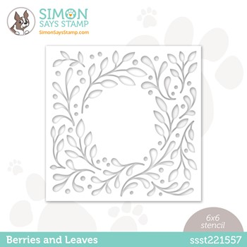Simon Says Stamp Stencils BERRIES AND LEAVES ssst221557 Peace On Earth